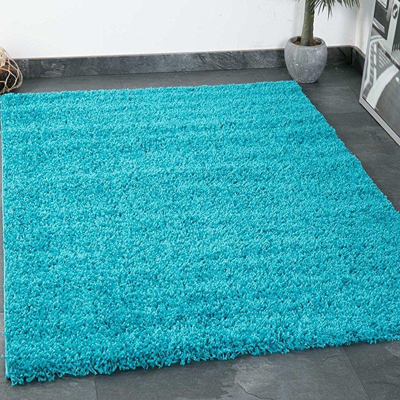 prime shaggy teppich farbe t rkis hochflor langflor teppiche modern f r wohnzimmer schlafzimmer. Black Bedroom Furniture Sets. Home Design Ideas